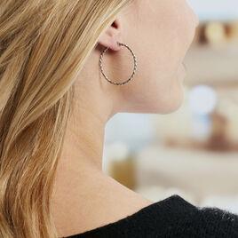 Créoles Abie Fil Lisse Argent Blanc - Boucles d'oreilles créoles Femme   Histoire d'Or