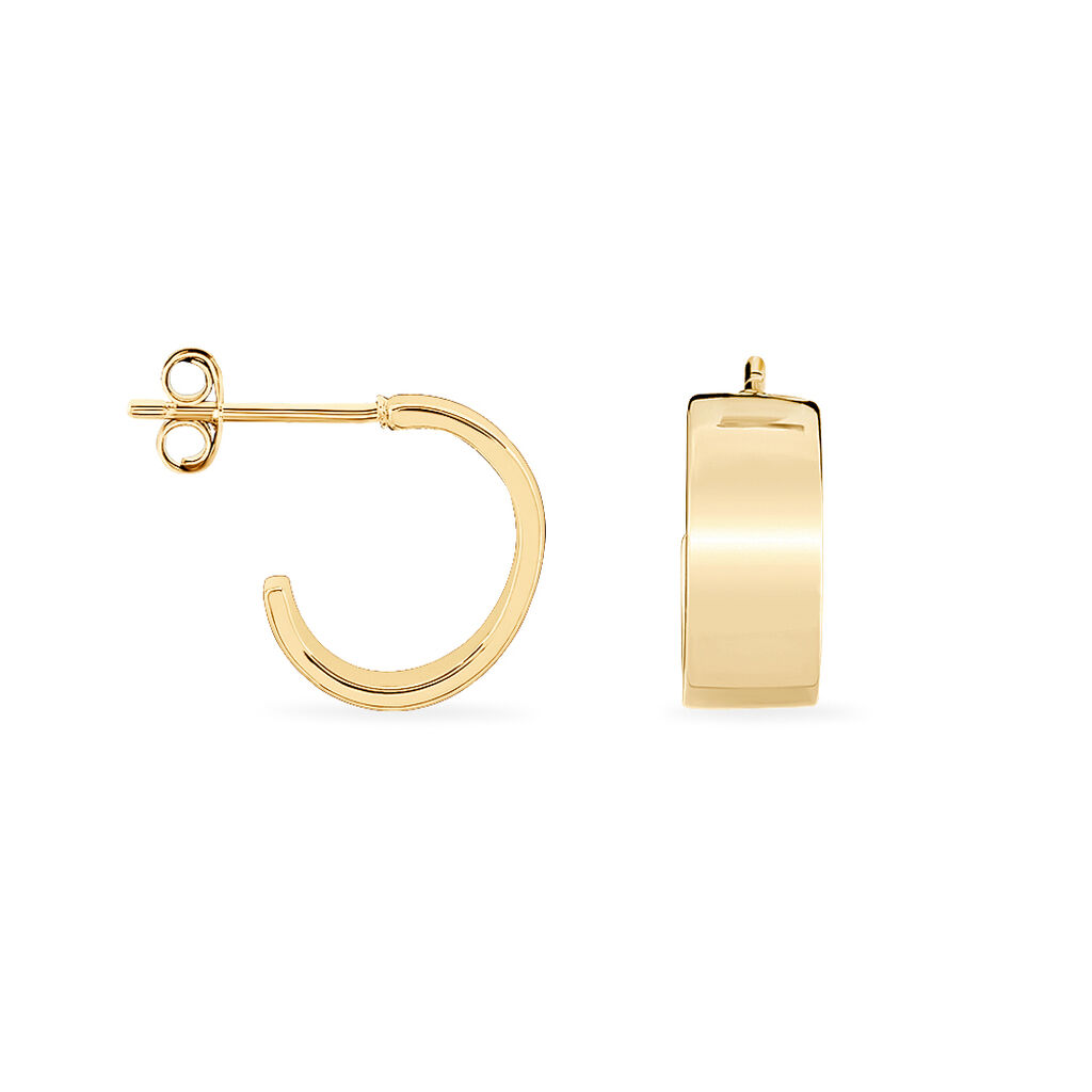 Créoles Aurelie Fil Lisse Large Plaque Or Jaune - Boucles d'oreilles créoles Femme   Histoire d'Or