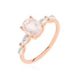 Bague Or Rose Quartz Et Diamant - Bagues solitaires Femme   Histoire d'Or