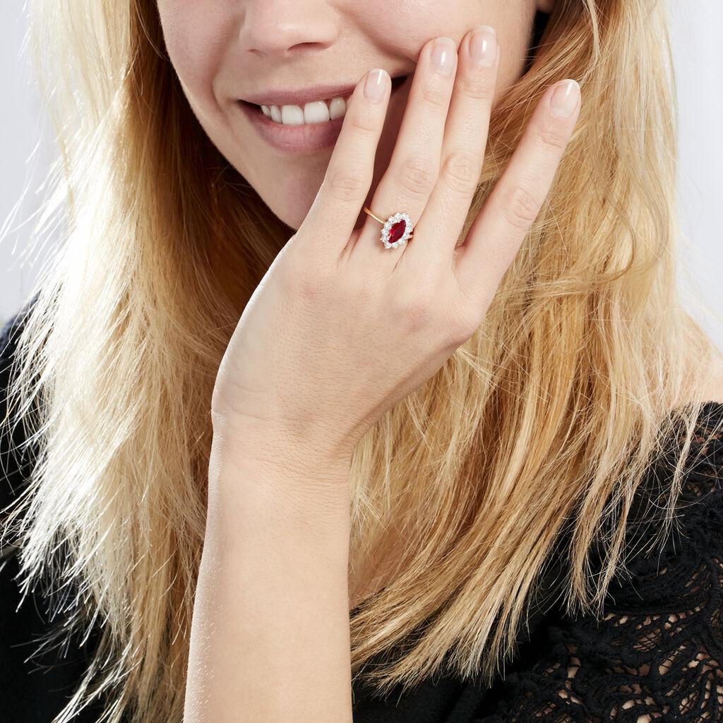 Bague Lisea Plaque Or Jaune Verre Et Oxyde De Zirconium - Bagues solitaires Femme   Histoire d'Or
