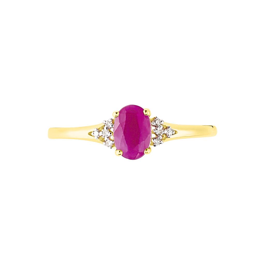 Bague Marie Or Jaune Rubis Et Diamant - Bagues avec pierre Femme | Histoire d'Or