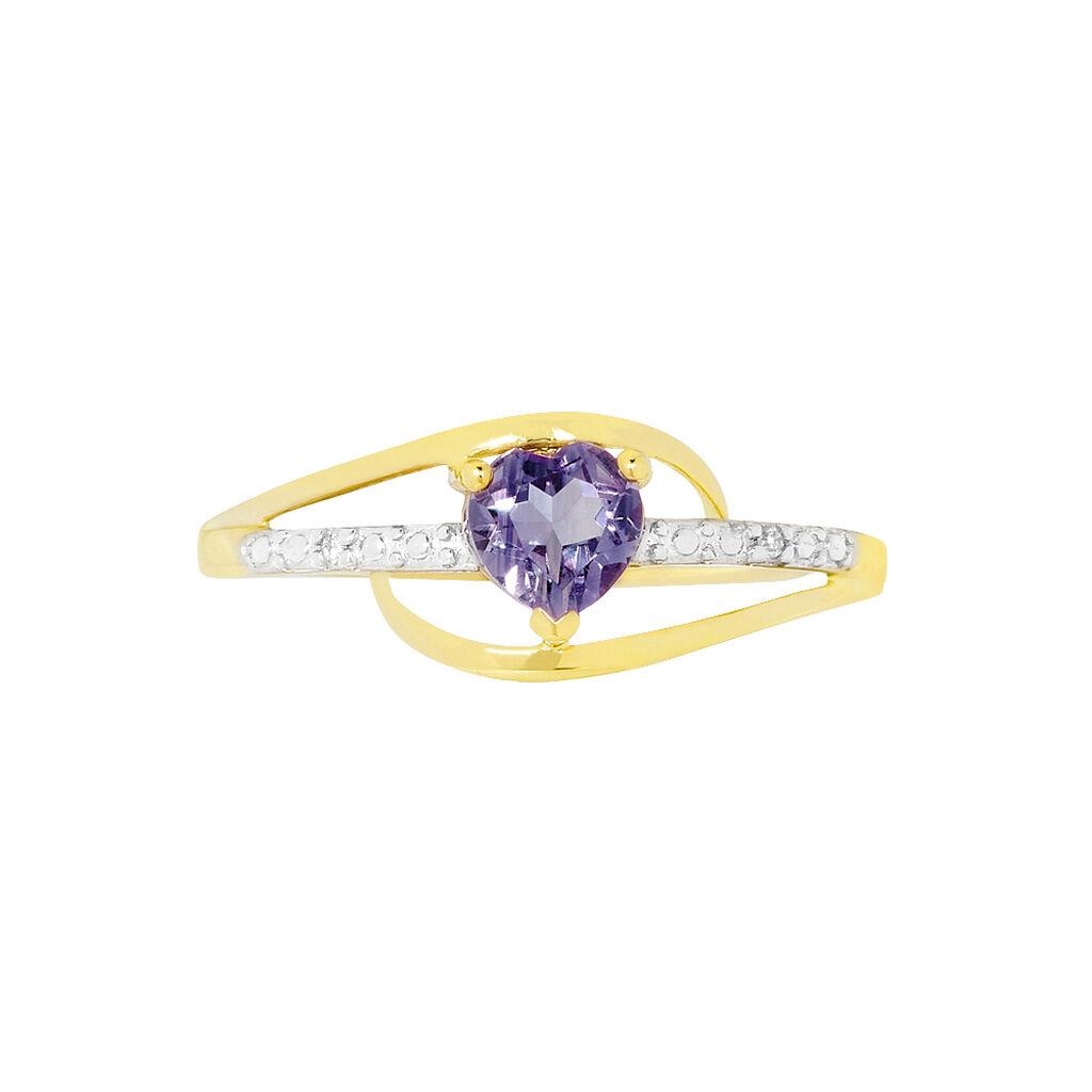 Bague Silucia Or Jaune Amethyste Et Diamant - Bagues Coeur Femme | Histoire d'Or