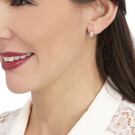 Boucles D'oreilles Pendantes Lika Or Blanc Oxyde De Zirconium - Boucles d'oreilles pendantes Femme   Histoire d'Or