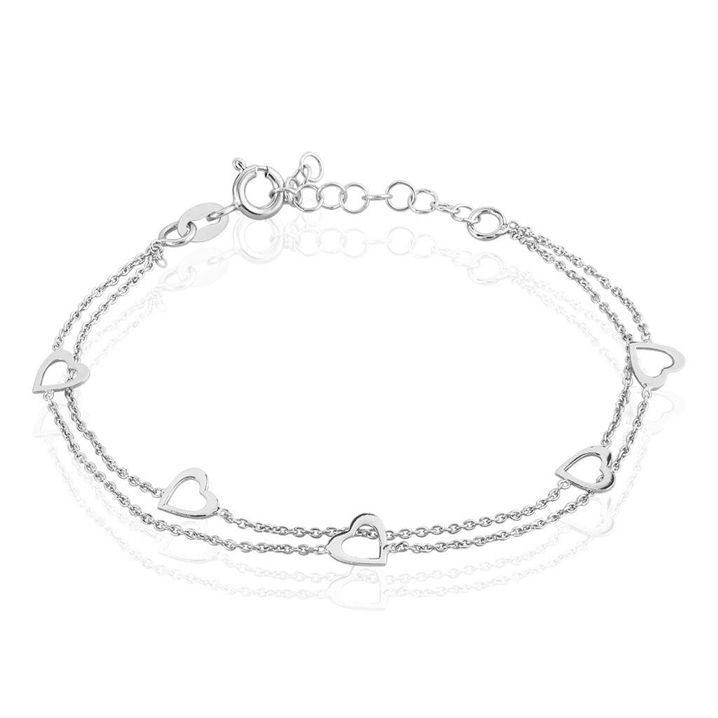 Bracelet Suzy Argent Blanc - Bracelets Coeur Femme   Histoire d'Or