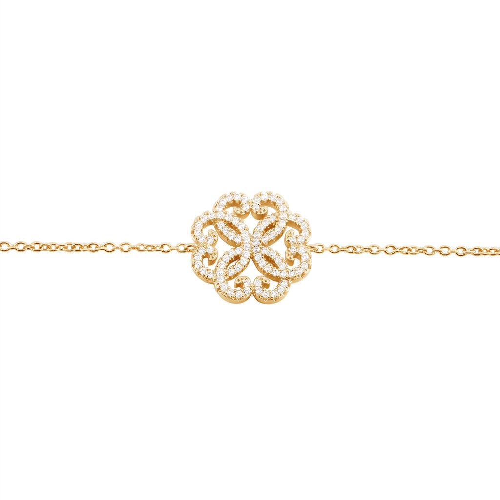 Bracelet Marguerita Plaque Or Jaune Oxyde De Zirconium - Bracelets fantaisie Femme   Histoire d'Or