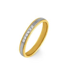 Alliance Serti Grains Or Bicolore Diamant - Alliances Femme   Histoire d'Or