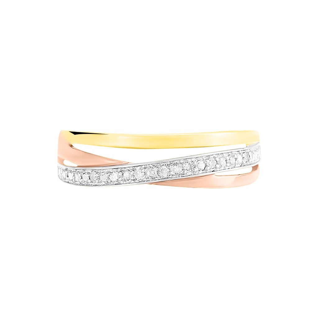 Bague Croisee Or Tricolore Diamant - Bagues avec pierre Femme   Histoire d'Or