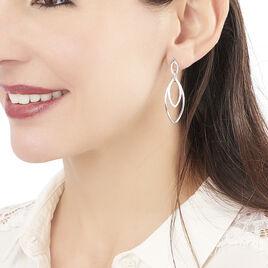 Boucles D'oreilles Pendantes Toupie Argent Blanc - Boucles d'oreilles fantaisie Femme   Histoire d'Or