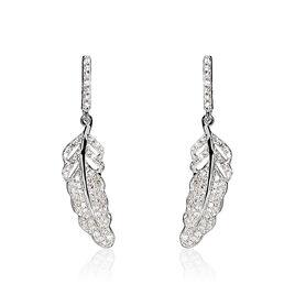 Boucles D'oreilles Puces Or Blanc Diamant - Boucles d'Oreilles Plume Femme | Histoire d'Or