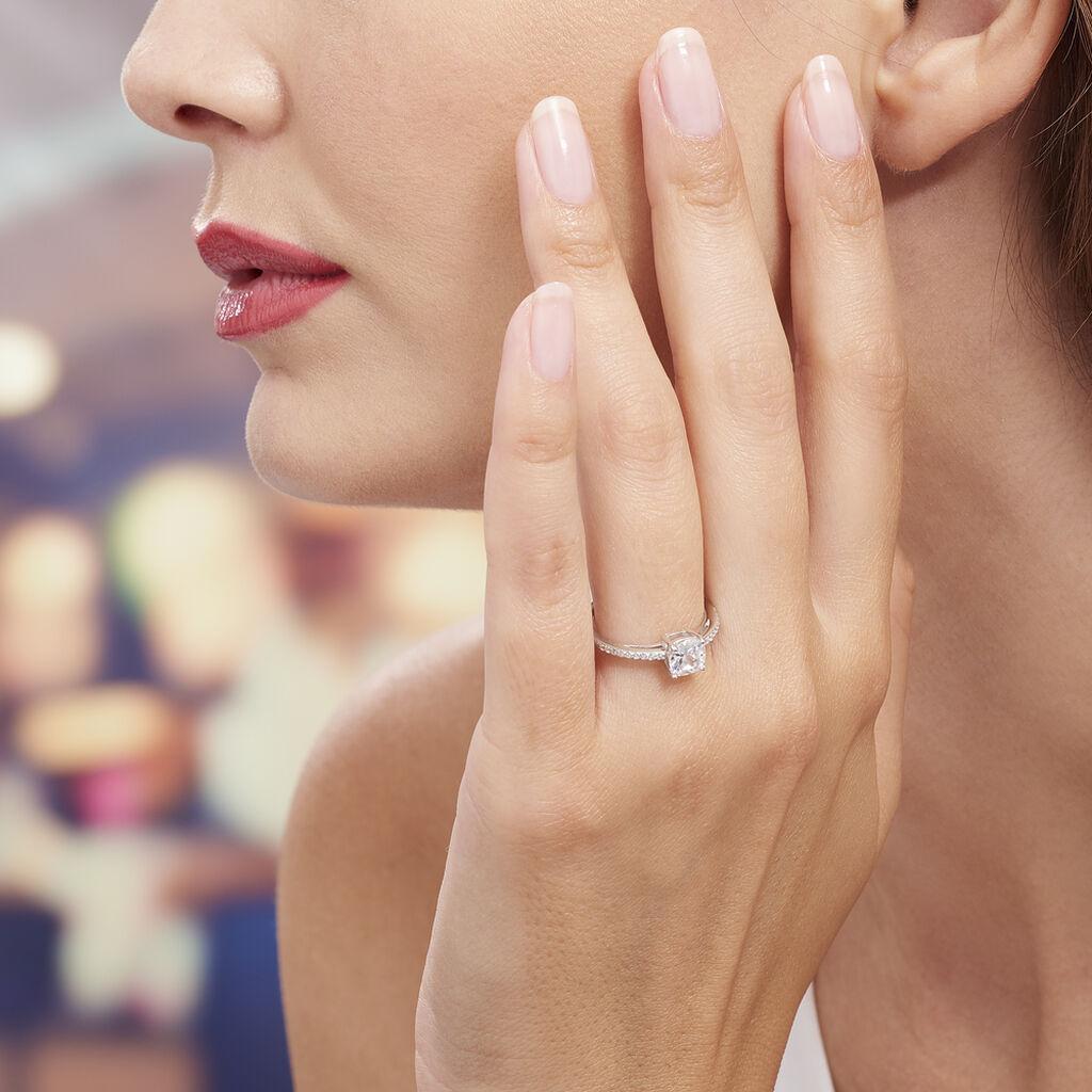 Bague Solitaire Celina Argent Blanc Oxyde De Zirconium - Bagues solitaires Femme   Histoire d'Or