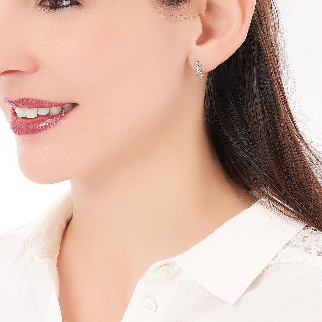 Boucles D'oreilles Puces Ivelyse Argent Blanc - Boucles d'oreilles fantaisie Femme | Histoire d'Or
