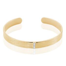 Bracelet Jonc Summer Plaque Or Jaune Oxyde De Zirconium - Bracelets joncs Femme | Histoire d'Or