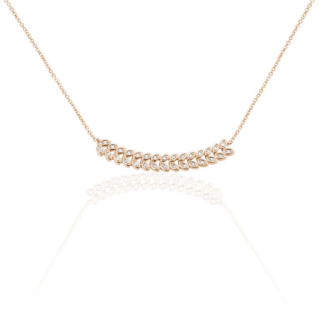 Collier Maitana Plaque Or Rose Oxyde De Zirconium - Colliers Plume Femme | Histoire d'Or