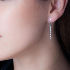 Boucles D'oreilles Pendantes Party Or Blanc Oxyde De Zirconium - Boucles d'oreilles pendantes Femme   Histoire d'Or
