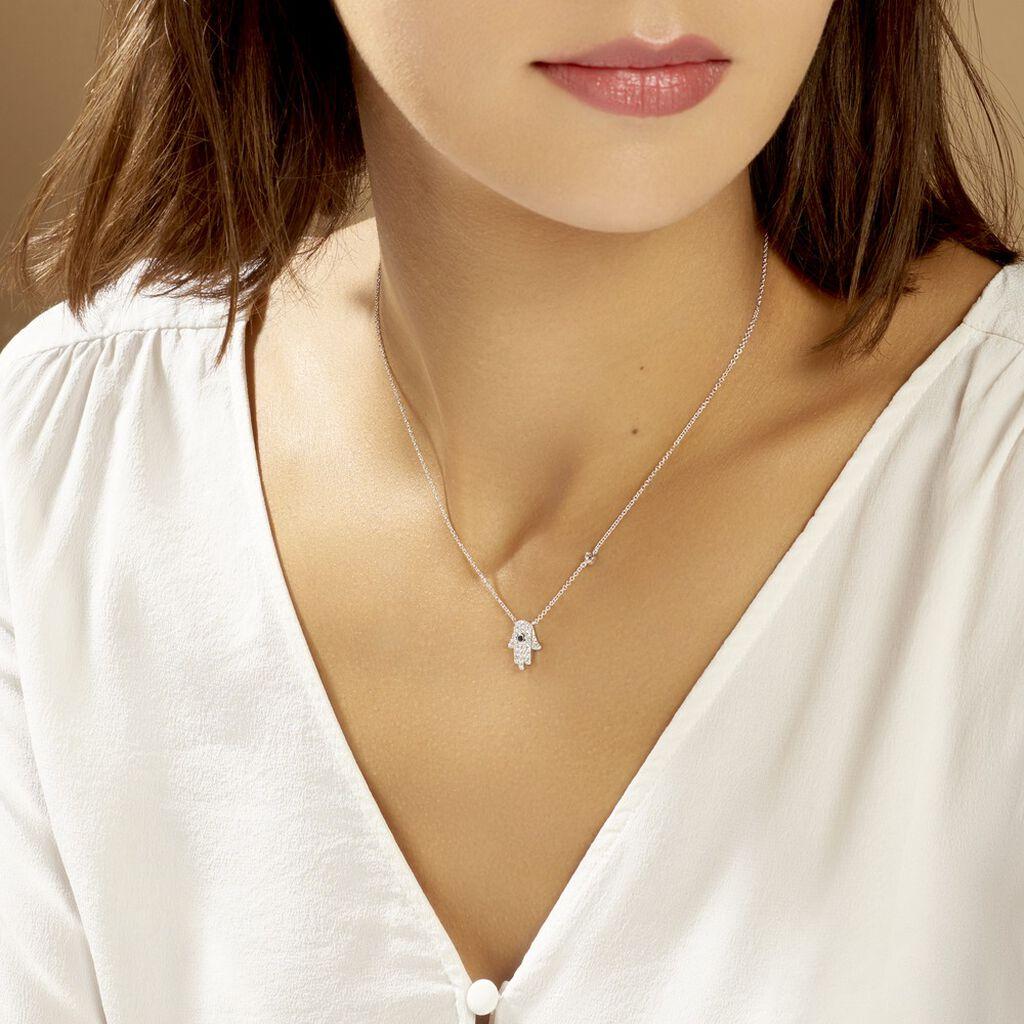 Collier Symbolique Argent Blanc Oxyde De Zirconium - Colliers Main de Fatma Femme   Histoire d'Or