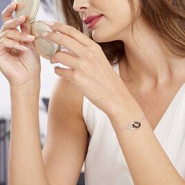 Bracelet Dina Argent Blanc Céramique Et Oxyde De Zirconium - Bracelets fantaisie Femme   Histoire d'Or