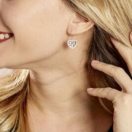 Boucles D'oreilles Pendantes Argent Rhodie Helenius Oxyde De Zirconium - Boucles d'Oreilles Coeur Femme | Histoire d'Or