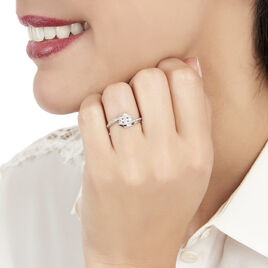 Bague Barbara Or Blanc Diamant - Bagues avec pierre Femme   Histoire d'Or
