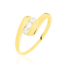 Bague Trilogie Or Jaune Diamant - Bagues avec pierre Femme   Histoire d'Or