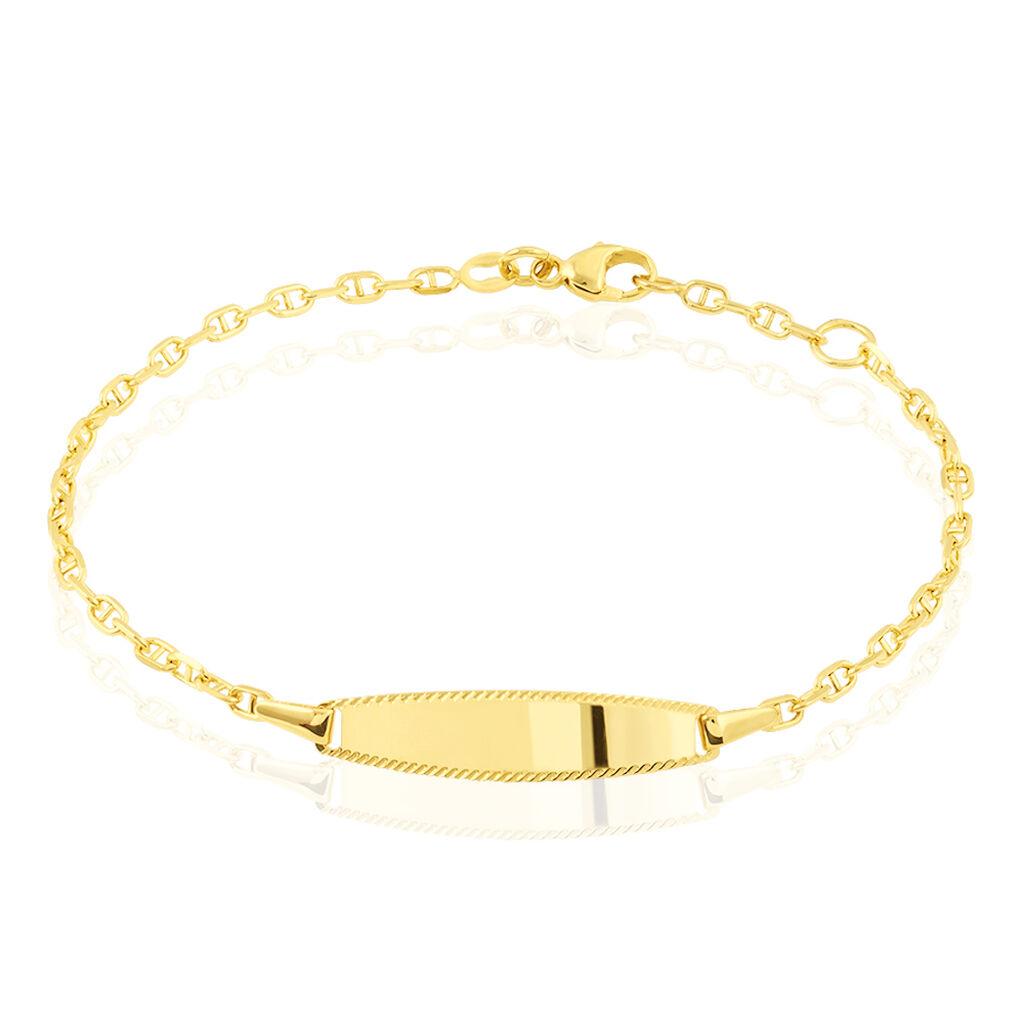 Bracelet Identité Fanelia Maille Marine Or Jaune - Bracelets Communion Enfant   Histoire d'Or