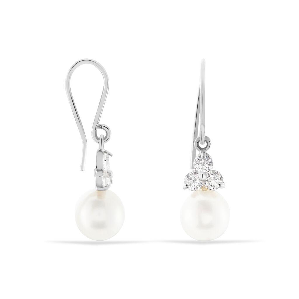 Boucles D'oreilles Pendantes Taissia Or Blanc Perle Culture Et Oxyde - Boucles d'oreilles pendantes Femme | Histoire d'Or