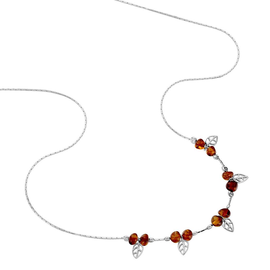 Collier Nolana Argent Blanc Ambre - Colliers Plume Femme | Histoire d'Or