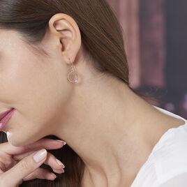 Boucles D'oreilles Pendantes Valance Argent Rose Oxyde De Zirconium - Boucles d'oreilles fantaisie Femme | Histoire d'Or