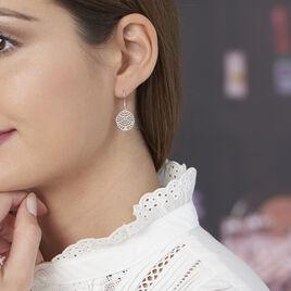 Boucles D'oreilles Pendantes Naelia Argent Blanc - Boucles d'oreilles fantaisie Femme   Histoire d'Or