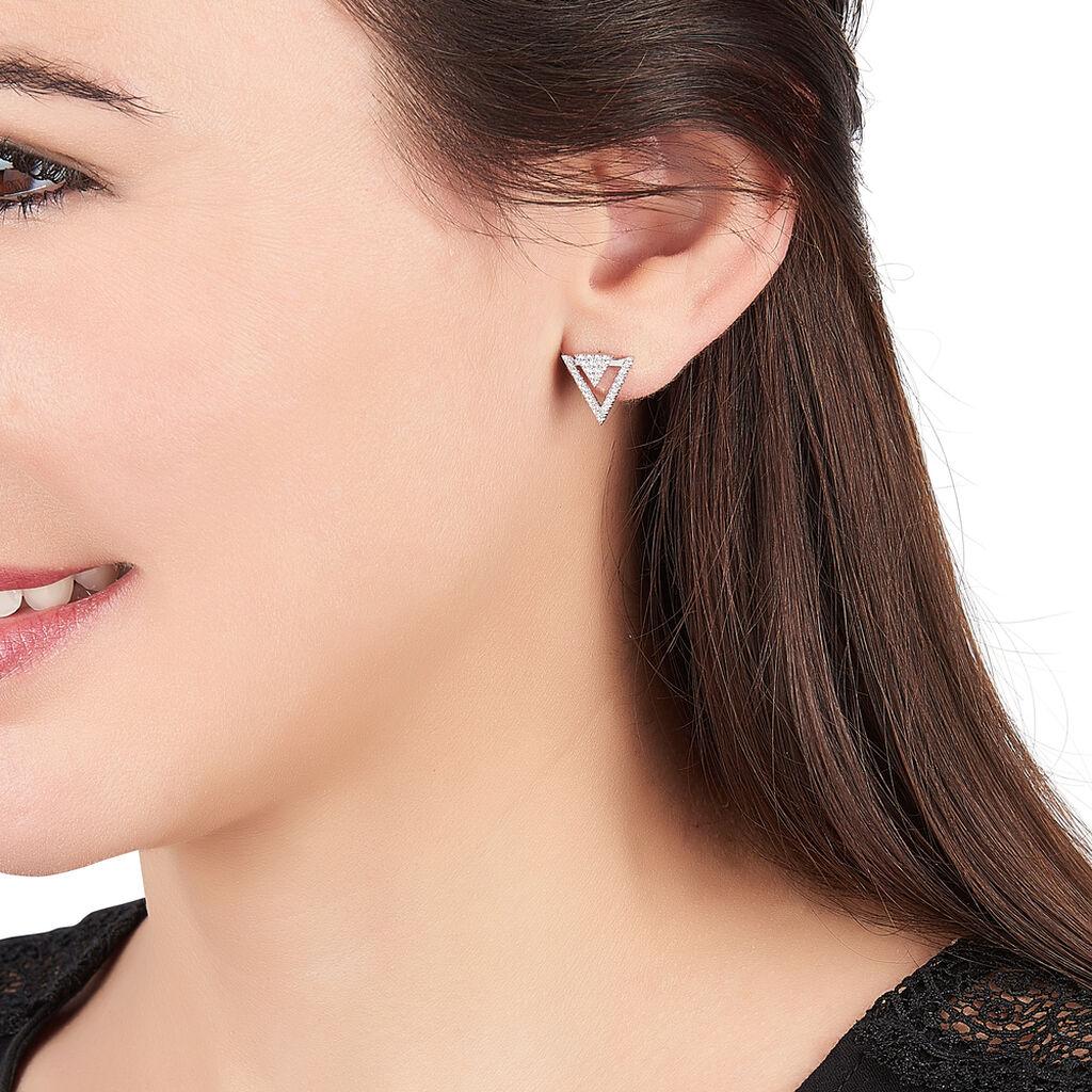 Boucles D'oreilles Pendantes Domnika Argent Blanc Oxyde De Zirconium - Boucles d'oreilles fantaisie Femme | Histoire d'Or