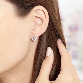 Boucles D'oreilles Puces Delicata Argent Blanc Oxyde De Zirconium - Boucles d'Oreilles Coeur Femme | Histoire d'Or