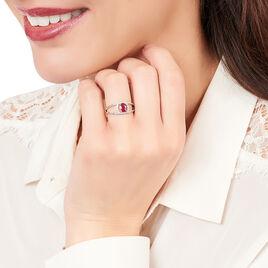Bague Or Blanc Rubis Et Diamant - Bagues solitaires Femme | Histoire d'Or