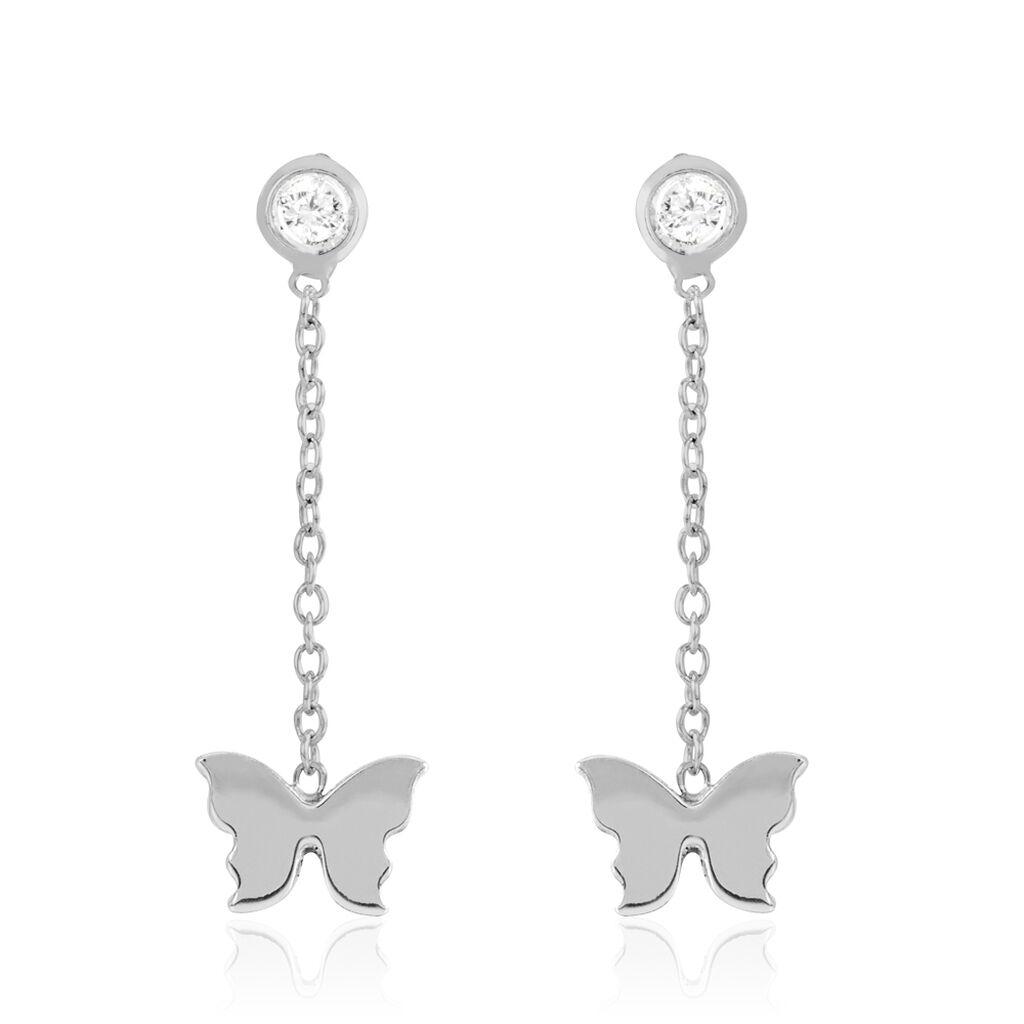 Boucles D'oreilles Pendantes Rana Argent Blanc Oxyde De Zirconium - Boucles d'Oreilles Papillon Femme   Histoire d'Or