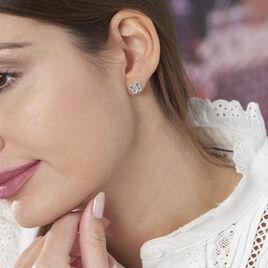 Boucles D'oreilles Puces Hava Argent Blanc Oxyde De Zirconium - Boucles d'Oreilles Papillon Femme | Histoire d'Or