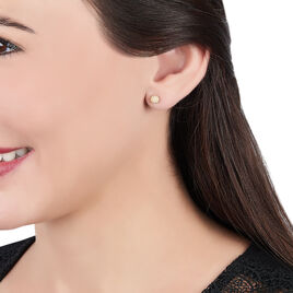 Boucles D'oreilles Puces Fidelia Boule Sablee Or Jaune - Clous d'oreilles Femme   Histoire d'Or