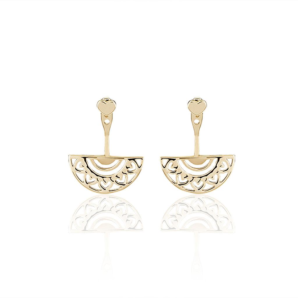 Bijoux D'oreilles Thaissia Plaque Or Jaune - Boucles d'Oreilles Coeur Femme   Histoire d'Or