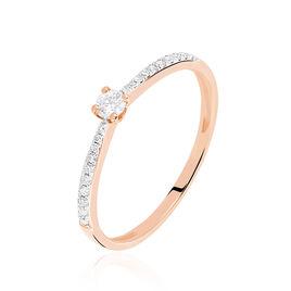 Bague Solitaire Laetitia Or Rose Diamant - Bagues avec pierre Femme   Histoire d'Or