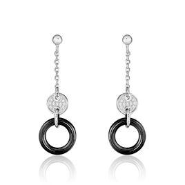 Boucles D'oreilles Pendantes Issara Argent Céramique Et Oxyde - Boucles d'oreilles fantaisie Femme | Histoire d'Or