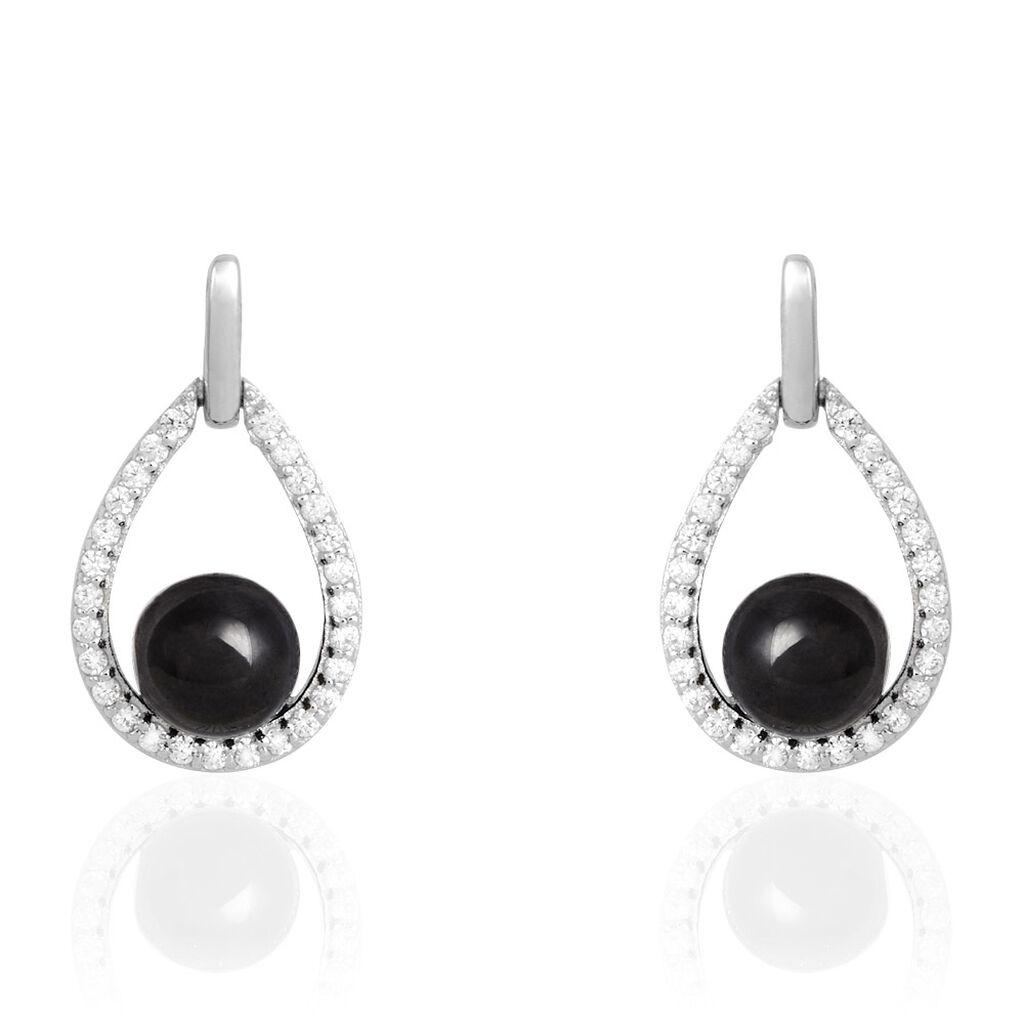 Boucles D'oreilles Pendantes Nerea Argent Céramique Et Oxyde - Boucles d'oreilles pendantes Femme | Histoire d'Or
