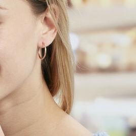 Créoles Agathe Diamantées Argent Rose - Boucles d'oreilles créoles Femme   Histoire d'Or