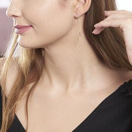 Boucles D'oreilles Pendantes Ginna Or Jaune Oxyde De Zirconium - Boucles d'Oreilles Plume Femme   Histoire d'Or