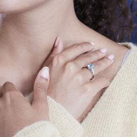 Bague Solitaire Adyl Or Blanc Turquoise Et Oxyde De Zirconium - Bagues solitaires Femme | Histoire d'Or