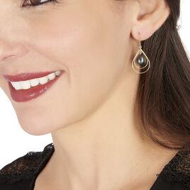 Boucles D'oreilles Pendantes Martyna Or Jaune Perle De Tahiti - Boucles d'oreilles pendantes Femme   Histoire d'Or