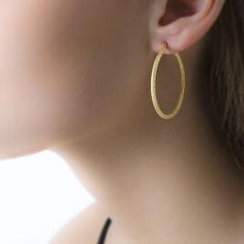 Créoles Ulrica Piquetees Fil Rond Or Jaune - Boucles d'oreilles créoles Femme | Histoire d'Or