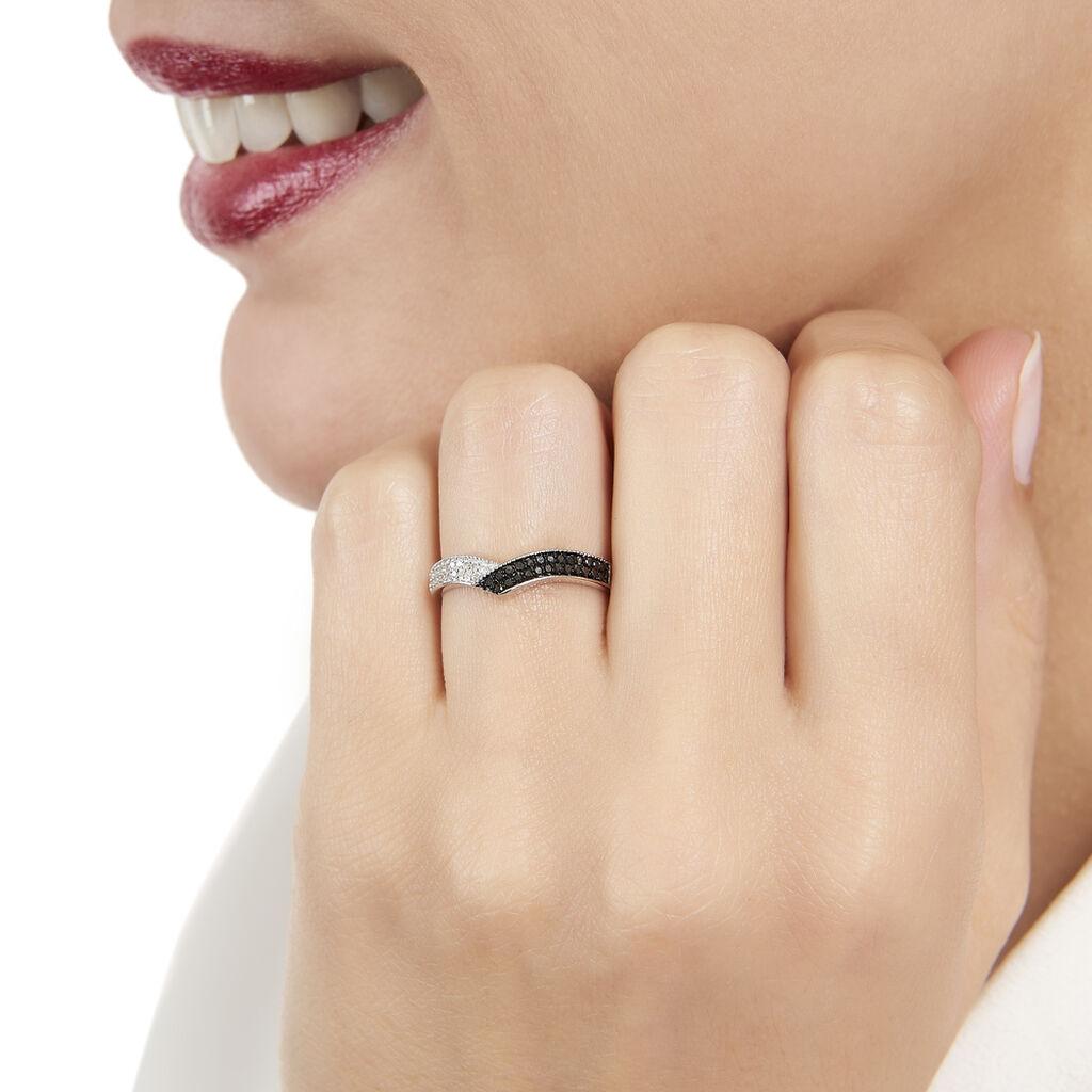 Bague Aile De Mouette Or Blanc Diamant - Bagues avec pierre Femme   Histoire d'Or