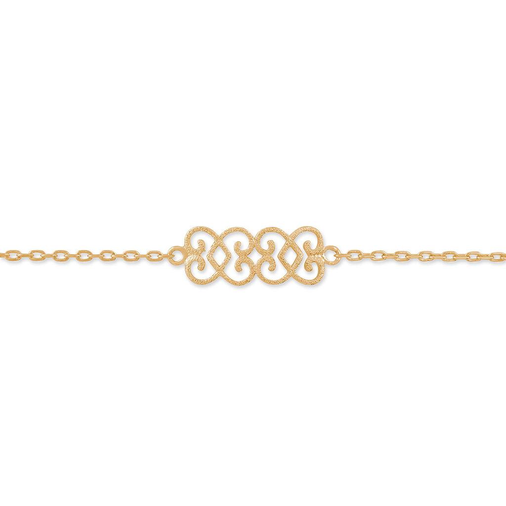 Bracelet Romance Plaque Or Jaune - Bracelets fantaisie Femme   Histoire d'Or