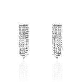 Boucles D'oreilles Pendantes Clavie Argent Blanc Oxyde De Zirconium - Boucles d'oreilles pendantes Femme | Histoire d'Or