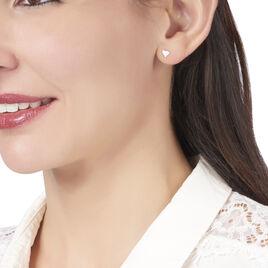 Boucles D'oreilles Puces Jeanne-françoise Argent Blanc - Boucles d'Oreilles Coeur Femme | Histoire d'Or