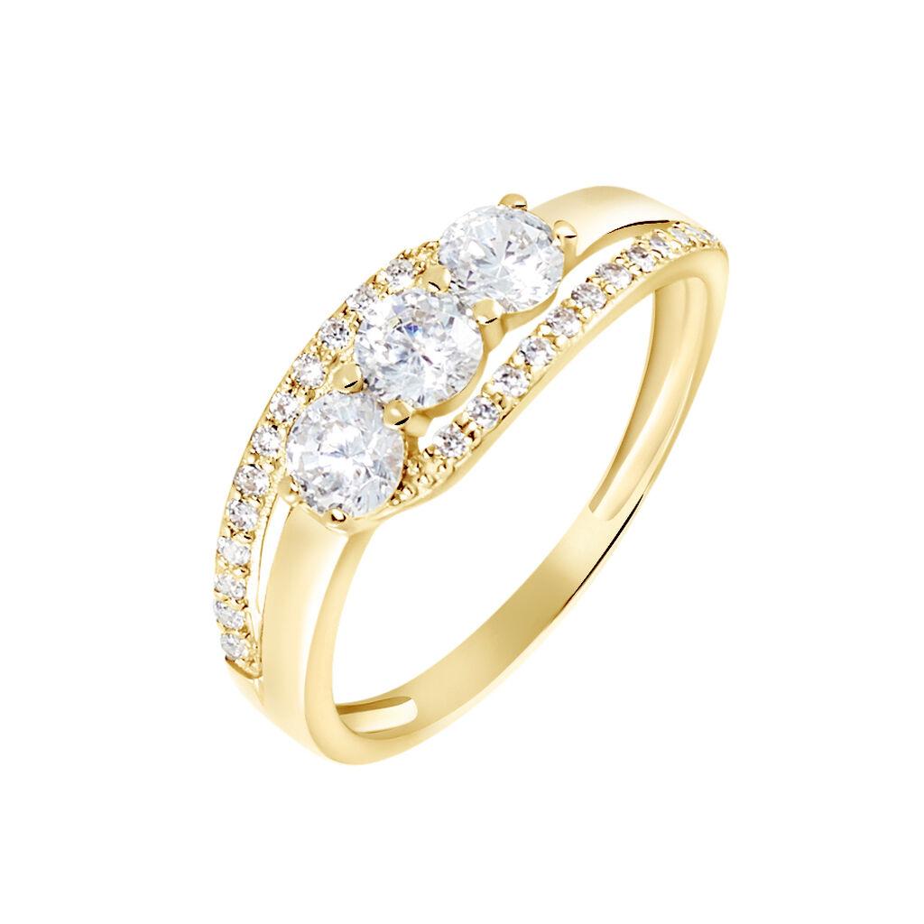 Bague Comete Or Jaune Oxyde De Zirconium - Bagues avec pierre Femme   Histoire d'Or