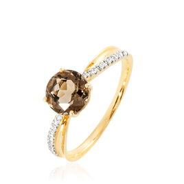 Bague Or Jaune Quartz Et Diamant - Bagues solitaires Femme   Histoire d'Or