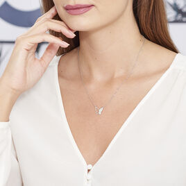 Collier Maria Argent Blanc - Colliers Papillon Femme   Histoire d'Or